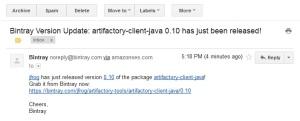 Bintray Email Notification