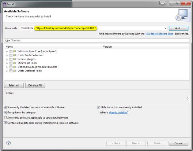 Install Bintray packages from eclipse